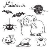Von Hand gezeichnetes Halloween Vektor Stockfotos