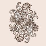 Von Hand gezeichnetes Henna Mehndi Abstract Mandala Flowers- und Paisley-Gekritzel Lizenzfreie Stockfotos