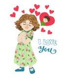 Von Hand gezeichnetes Karikaturmädchen denkt an den Jungen Ich liebe dich Grußkarte Stockfotografie