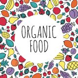 Von Hand gezeichnetes Konzept des biologischen Lebensmittels Runde Form mit Lizenzfreie Stockfotografie