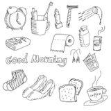 Von Hand gezeichnetes Material morgens Stockbild