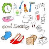 Von Hand gezeichnetes Material morgens Lizenzfreie Stockfotografie