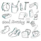 Von Hand gezeichnetes Material morgens stockbilder