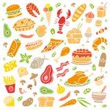 Von Hand gezeichnetes Nahrungsmittelplakat Bunte Illustration mit vielen verschiedenen Tellern stock abbildung