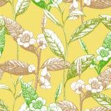 Von Hand gezeichnetes nahtloses Muster mit Teeblättern und Blumen stockfotos