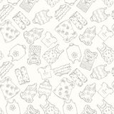 Von Hand gezeichnetes nahtloses Muster von Kinderkleidung Stockfoto