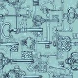 Von Hand gezeichnetes nahtloses Muster von verschiedenen Weinleseschlüsseln Stockbilder