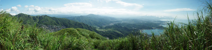 Von Jinguashi-Ansicht zu Jiufen Lizenzfreie Stockbilder