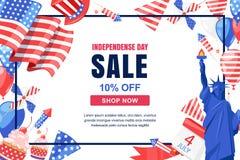von Juli-Hintergrund Vektorverkaufsfahne, Plakat Feiertagsrahmen mit weißem Hintergrund 4 von Juli-Feiersymbolen Stockbilder