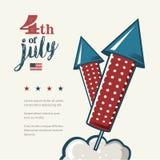 4. von Juli-Plakat Retro- Metallschild des Schmutzes mit Feuerwerken Unabhängigkeit Day Feierflieger Weinlesemodell alt Lizenzfreie Stockbilder