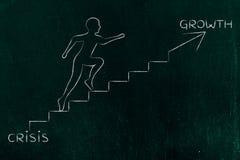 Von Krise zu Wachstum, kletternde Treppenmetapher des Mannes Stockfotografie