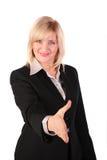 Von mittlerem Alter Frau gibt Hand Stockfoto