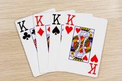 4 von nette Könige - Kasino, das Schürhakenkarten spielt stockbilder