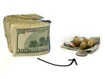 Von Reichtum zu Einkommen-Erdnüsse Stockfoto