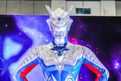 Von Ultraman-Modell ist eine japanische Fernsehserie lebensgroß, die durch Tsuburaya-Produktionen produziert wird stockbild