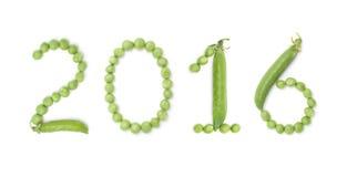 2016 von Zahlen mit grünen Erbsen Stockfotografie
