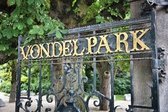 Vondelpark, Amsterdam. Amsterdam, Netherlands - gate to Vondelpark. City park entrance stock image