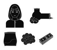 Vong, drug addict, package with marijuana, ecstasy. Drugs set collection icons in black style vector symbol stock. Illustration Royalty Free Stock Image