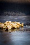 Vongole fritte mentre cucinando fotografia stock
