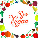 Vont le vegan Illustration tirée par la main de vegan de vecteur organique sain frais de nourriture Photographie stock