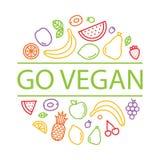 Vont le vegan Les fruits et les baies ont isolé l'illustration de vecteur pour le menu illustration de vecteur