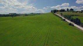 Voo aéreo acima do campo ao longo da estrada rural Fundo do céu azul e das nuvens vídeos de arquivo