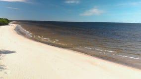Voo aéreo sobre a praia branca bonita da areia do paraíso em Letónia e no golfo do mar Báltico vídeos de arquivo