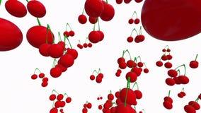 Voo abstrato abaixo das cerejas na cor branca ilustração royalty free