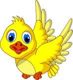 Voo amarelo bonito dos desenhos animados do pássaro Foto de Stock