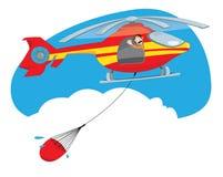Voo amarelo e vermelho do helicóptero do bombeiro e água levando Ilustração Stock