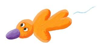 Voo amarelo engraçado do pássaro Imagens de Stock