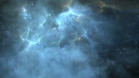 Voo através dos campos da nebulosa e de estrela no espaço profundo Exoplanets ou planetas Extrasolar na nebulosa do fundo filme