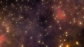 Voo através dos campos e da nebulosa de estrela no espaço profundo ilustração do vetor
