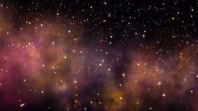 Voo através dos campos e da nebulosa de estrela no espaço profundo ilustração stock