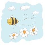 Voo bonito da abelha em torno das flores ilustração do vetor