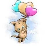 Voo bonito do tigre com balões coloridos Ilustração do Vetor