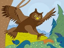 Voo bonito dos desenhos animados da coruja Caça do rato alguns ratos escondidos no campo amarelo ilustração royalty free