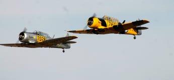 Voo clássico do avião do vintage, aviação de voo Harvard Imagem de Stock