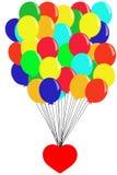 Voo com balões - ilustração do coração Imagens de Stock