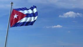 Voo comercial do avião acima da bandeira de ondulação de Cuba video estoque