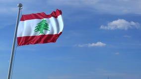 Voo comercial do avião acima da bandeira de ondulação de Líbano filme