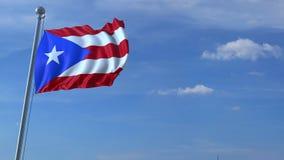 Voo comercial do avião acima da bandeira de ondulação de Porto Rico video estoque