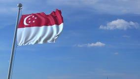 Voo comercial do avião acima da bandeira de ondulação de Singapura video estoque
