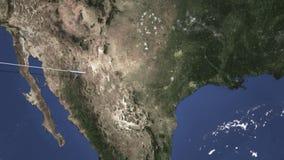 Voo comercial do avião a Austin, Estados Unidos Animação da introdução 3D ilustração royalty free