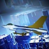 Voo contra um céu azul, do avião de combate ilustração 3d Imagens de Stock