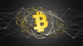 Voo cripto do sinal de moeda de Bitcoin em torno de uma conexão de rede Fotografia de Stock