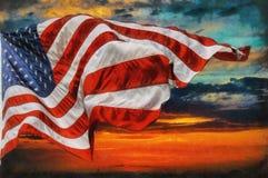 Voo da bandeira americana, sobre o nascer do sol bonito do por do sol com nuvens, fotografia de stock
