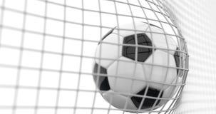 Voo da bola de futebol na rede do objetivo no movimento lento Animação bonita do futebol 3d do momento do objetivo no branco video estoque