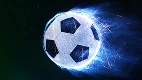 Voo da bola de futebol no laço das chamas 4K filme