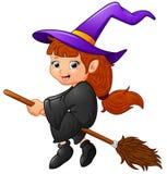 Voo da bruxa dos desenhos animados Imagem de Stock Royalty Free